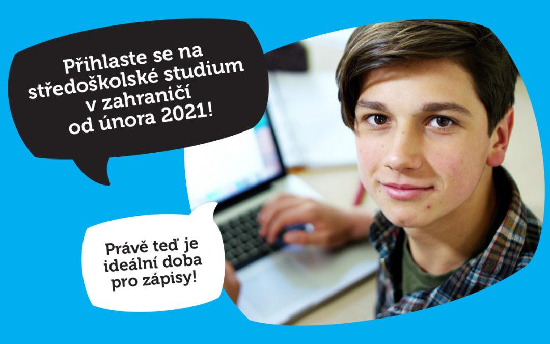 Přihlaste se na  středoškolské studium  v zahraničí  od února 2022!
